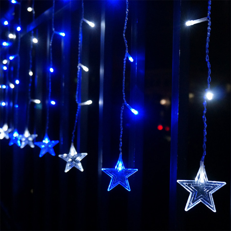 Trecaan 5M / 3.5M Femstjärnig String Stil Curtain Lights Fairy Xmas - Festlig belysning - Foto 5