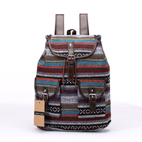 New Brand Women Backpack Vintage Cotton Fabric Backpacks Large Capacity Shoulder Bag Bohemian Chic Rucksack Elephant