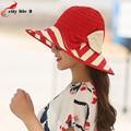 Women Hat Summer autumn Anti-UV Sun Hat Foldable Beach Hats Bowtie Striped Multicolor Chapeau