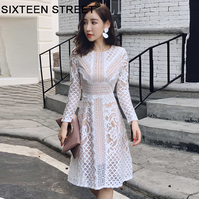 5b56fc52aed51 New woman round neck lace dress long sleeve hollow out black white sexy  elegant mid dresses spring autumn runway vestidos female