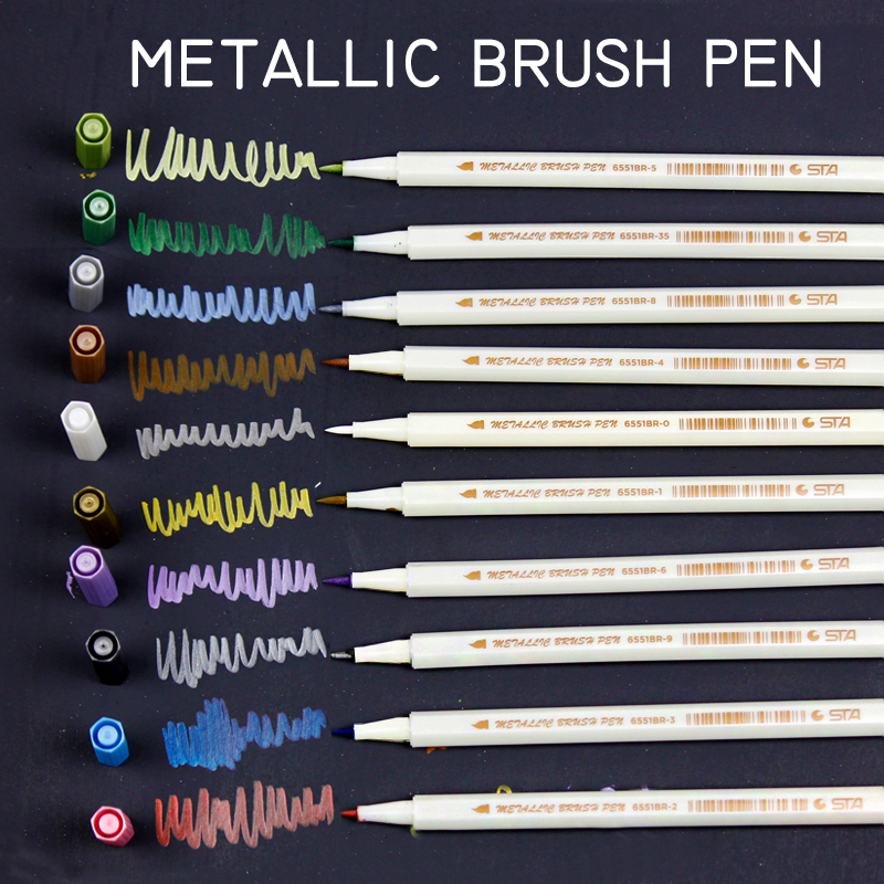 STA 10Colors/Set Metallic Art Marker Pen DIY Scrapbooking Crafts Soft Brush Pen Art Markers For Stationery School Supplies