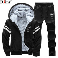 Riinr 2017 Fashion New Arrival Men's Sportwear Sets Winter Casual Hoodies Two Piece Sets Printing Solid Color Sporting Suit Men