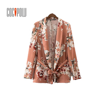 ZA Women Vintage Floral Print Blazer Notched Collar Sashes Long Sleeve Coat Casual Outerwear Casaco