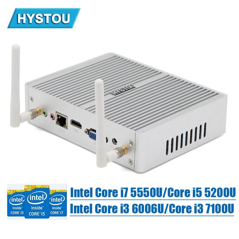 Core i7 Fanless Mini PC 5550U Ultra 4K HD Windows 10 TV BOX USB 3.0 Micro Computer Intel Core i5 5200U DDR3L Linux 7100U Desktop