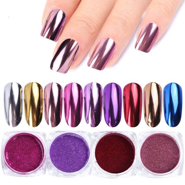 0.5g Espelho Prego Pó Glitter Flocos de Cor Metálica Da Arte Do Prego Gel UV Polimento de Cromo Pigmento Pó Decorações Manicure TRC /ASX