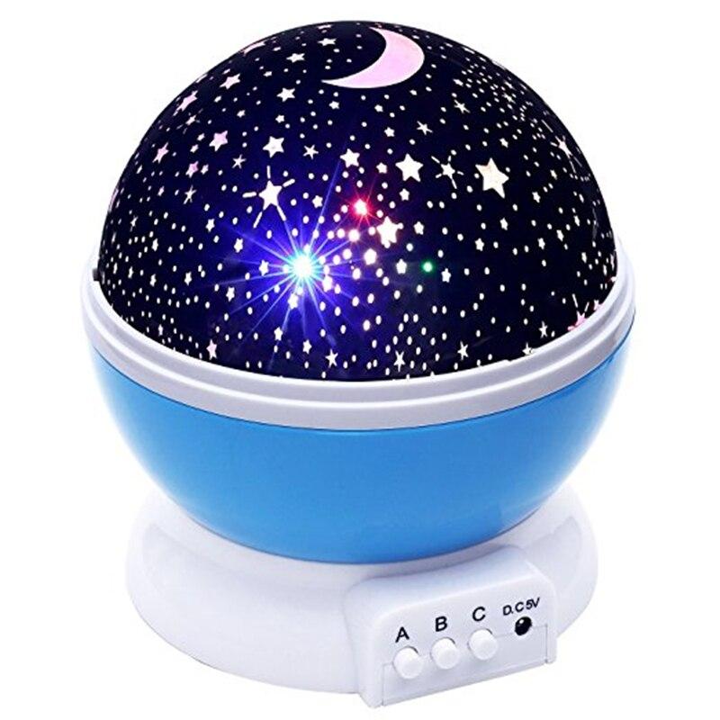 Bebé luz de la noche de la luna de la estrella proyector de rotación de 360 grados-4 bombillas LED 9 luz cambia de Color con Cable USB ¡regalos únicos