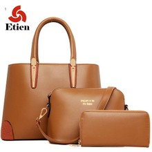 3 Unids/set vintage bolsos mujeres messenger bags mujer bolso bolsas de hombro sólido oficina de señora casual Nuevo de asa superior bolsa