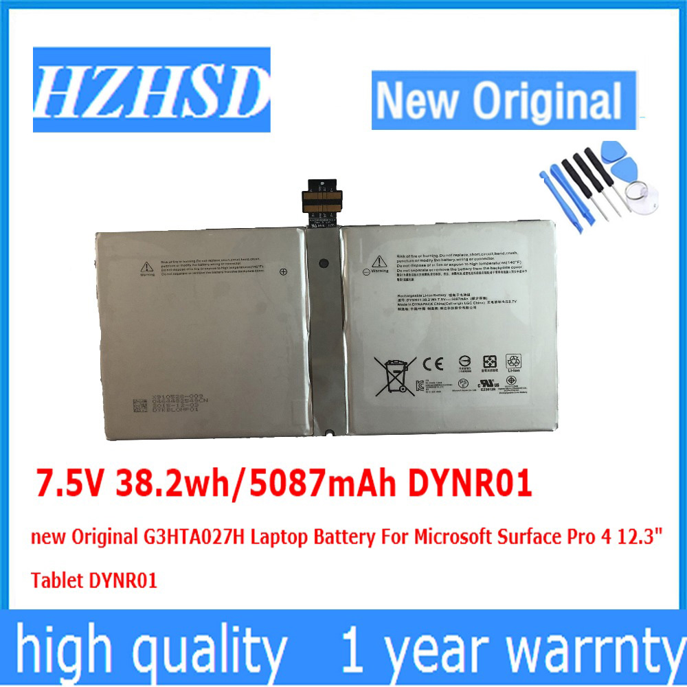 7.5V 38.2wh/5087mAh DYNR01 New Original G3HTA027H Laptop Battery For Microsoft Surface Pro 4 12.3