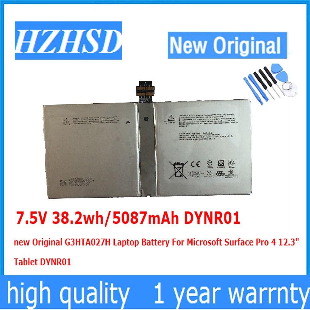 7.5V 38.2wh/5087mAh DYNR01 New Original G3HTA027H Laptop Battery For Microsoft Surface Pro 4 12.3