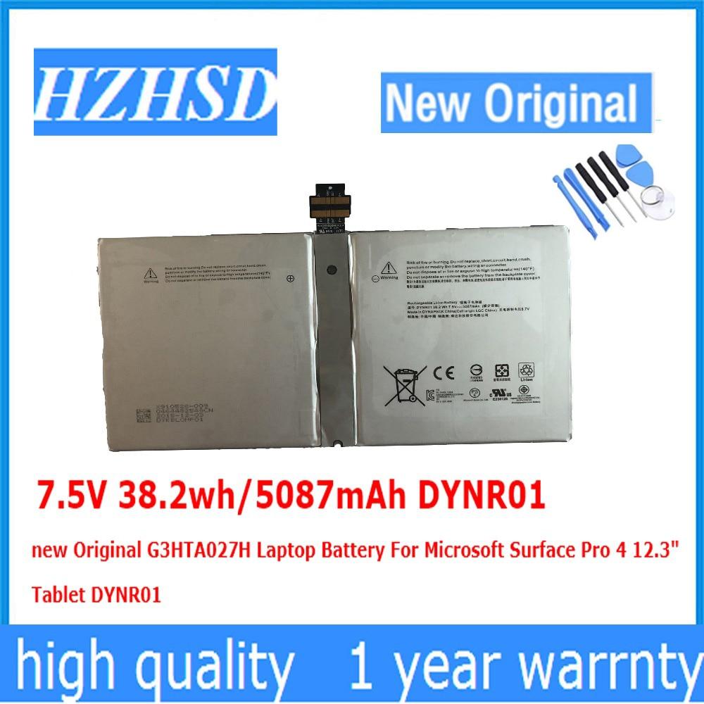7.5V 38.2wh/5087mAh DYNR01 nouvelle batterie d'ordinateur portable d'origine G3HTA027H pour tablette Microsoft Surface Pro 4 12.3