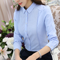 2017 New Spring Occupation Slim  Women Leisure Long Sleeved White Shirt Female Embroidered
