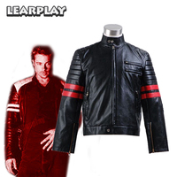 Fight Club Brad Pitt Biker Jacket Cosplay Costumes Tyler Durden Black and Red Man Motorcycle jacket