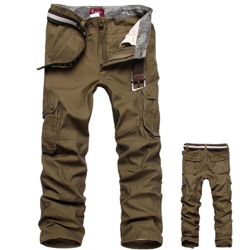 Camouflage pants Men Cargo Pants Military Army Pant 100% Cotton Khaki/Green/Brown/Black Big Size 30-44 mens Long trousers 2018