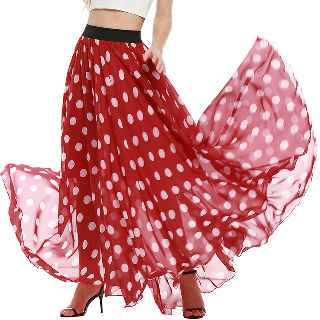 Ladies Chiffon Maxi Skirt With Lining & Elastic Waist – 13 Colors