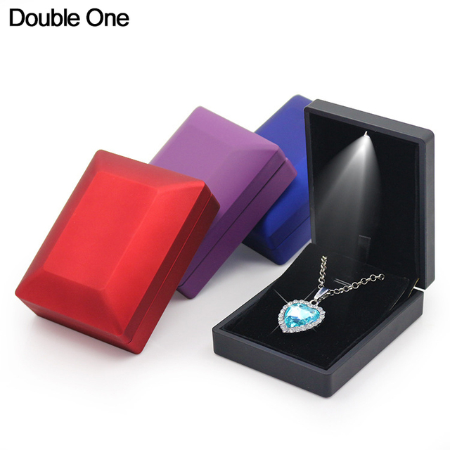 LED Light Jewelry Box Rubber Painted Ring Pendant Necklace Bangle