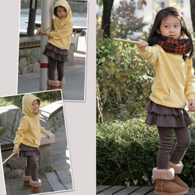 Baby Girls Skirts Pants 2018 Children Bottoms Trousers Autumn Winter Cotton Kids Leggings with Skirt Skinny Pantskirt 3-14 Years