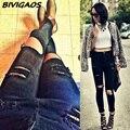 2016 Hot Venda Nova Moda Feminina Casual Preto de Cintura Alta Rasgado calças de brim Buraco Na Altura Do Joelho Magro Calças Lápis Denim Jeans Rasgado Para As Mulheres
