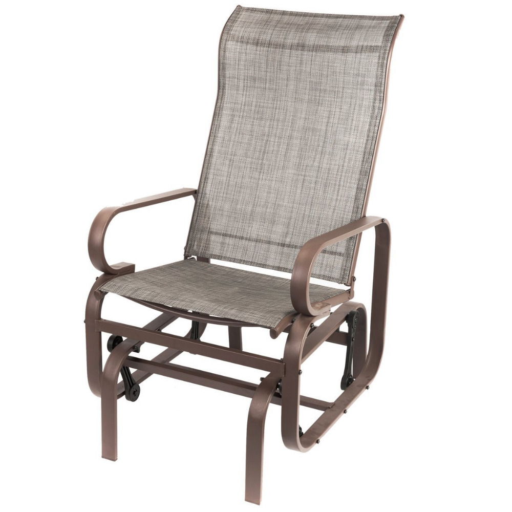 Naturefun outdoor patio rocker chair balcony glider rocking lounge chair all weatherproof gray