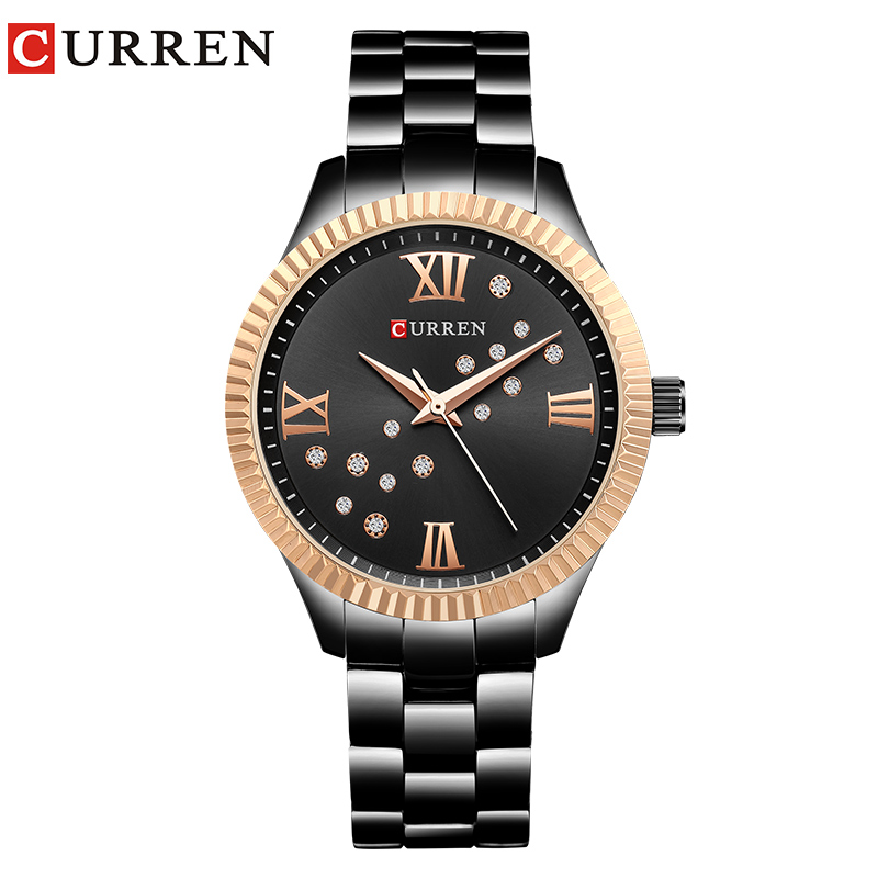 CURREN Women Dress Watches Ladies Quartz Crystal Design Wristwatch Simple Fashion Female Clock Hot Sale Women Gift Reloj Mujer