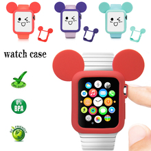 Cartoon Silicone watch Case for apple screen protector 44mm&for cover 42/38mm iwatch 4 bumper series 3 2 1