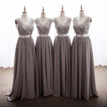 Elegant Gray Color V-Neck A-Line Lace Applique Chiffon Bridesmaid Dresses Cheap Court Train Chiffon Lace Bridesmaid Gowns
