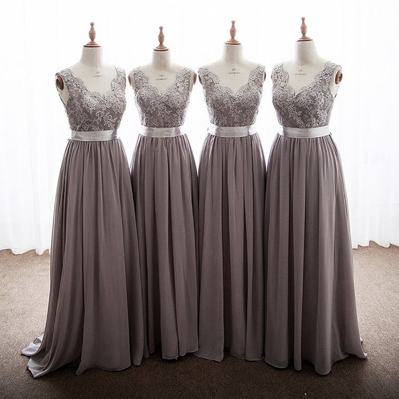 Elegant Gray Color V-Neck A-Line Lace Applique Chiffon   Bridesmaid     Dresses   Cheap Court Train Chiffon Lace   Bridesmaid   Gowns