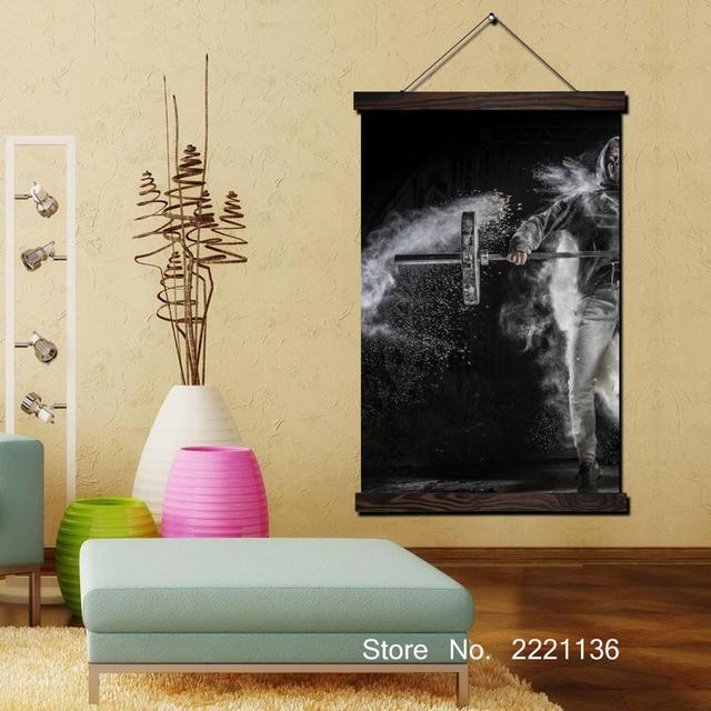 Black and White Weightlifter Scroll Painting HD Wall Art Hanging ...