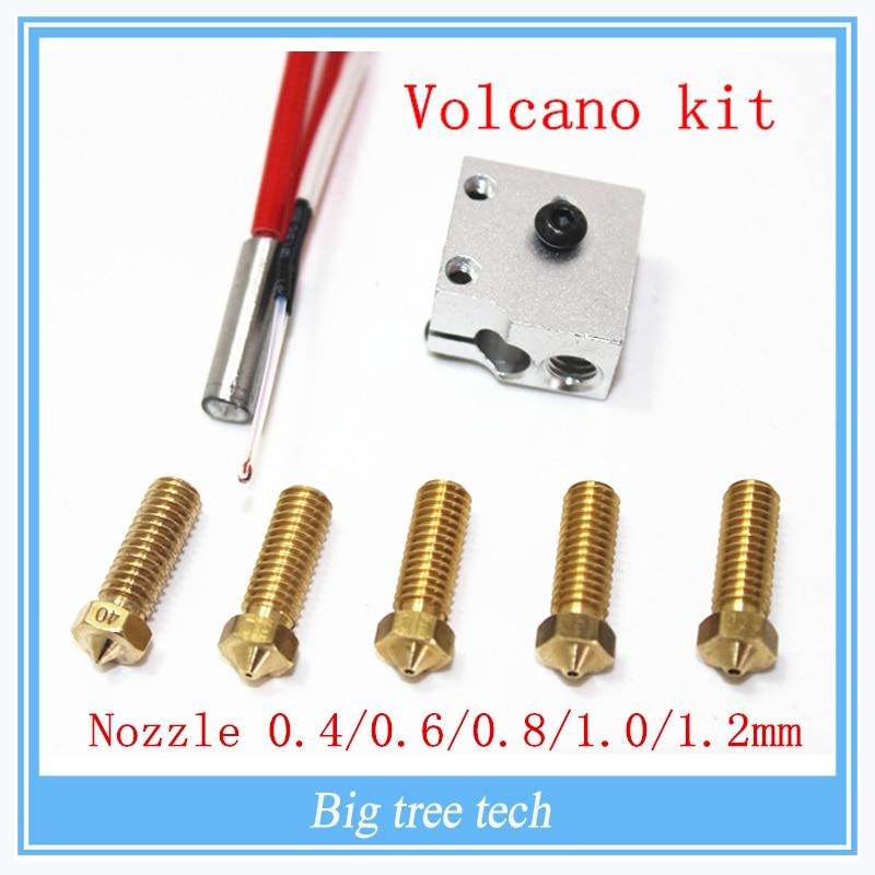 3D printer parts 3D Volcano hot end eruption pack kit/set heater block+nozzle pack for 3D Printer filament  1.75/3 mm