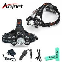 Anjoet עוצמה USB קריס 5 * LED XML T6 פנס 20000Lumens פנס נטענת דיג אור flashligh חיצוני אור 18650|פנסי חזית|   -