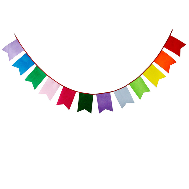 3 1m 12 flags non woven fabrics colorful banner pennant garland kids