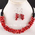 Free shipping 6X4mm natural red coral chips nugget beads rope charms necklace earrings romantic jewelry set 18inch GE1164