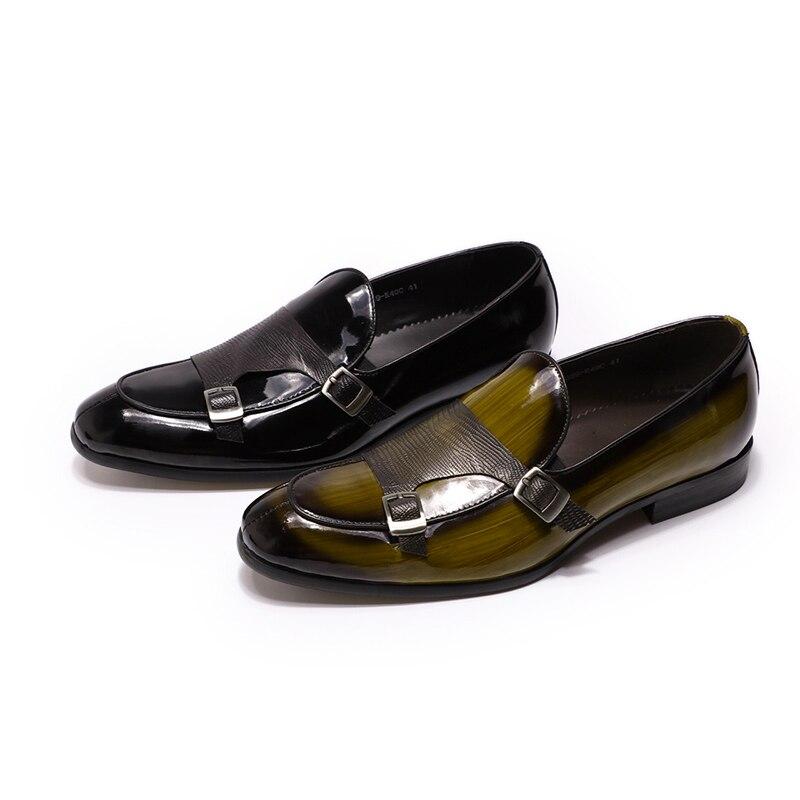 2019 الخريف براءات الاختراع والجلود رجل المتسكعون الزفاف حزب اللباس أحذية أسود أخضر الراهب حزام عارضة أزياء الرجال الانزلاق على الأحذية-في أحذية رسمية من أحذية على  مجموعة 2