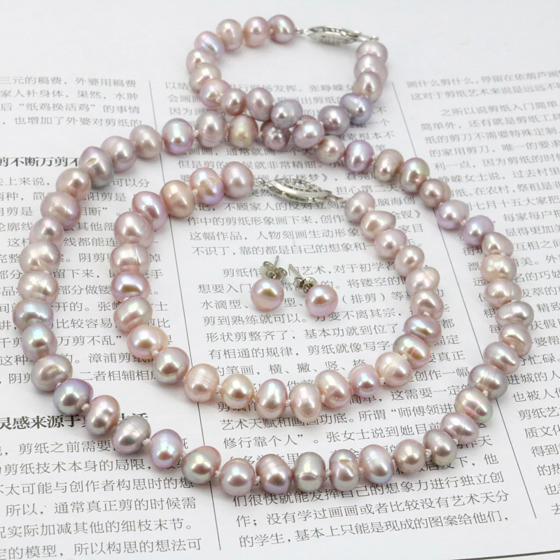 WUBIANLU Purpel Pearl Necklace Sets Fish Clasp 7-8mm Necklace 18 Inch Bracelet 7.5 Inch Earring Women Jewelry Making Design