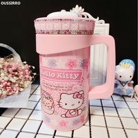 OUSSIRRO Candy Color Hello Kitty Stainless Steel Theme Thermos Mugs Cup With Creative Cover Children Juice Thermos Cup