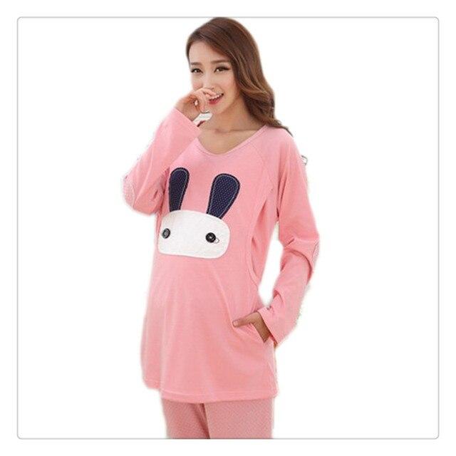 Cartoon rabbit Maternity Nurseing Pajamas Cotton Long Sleeved Clothes For Pregnant Women clothing Prenatal/Puerperal Lactation