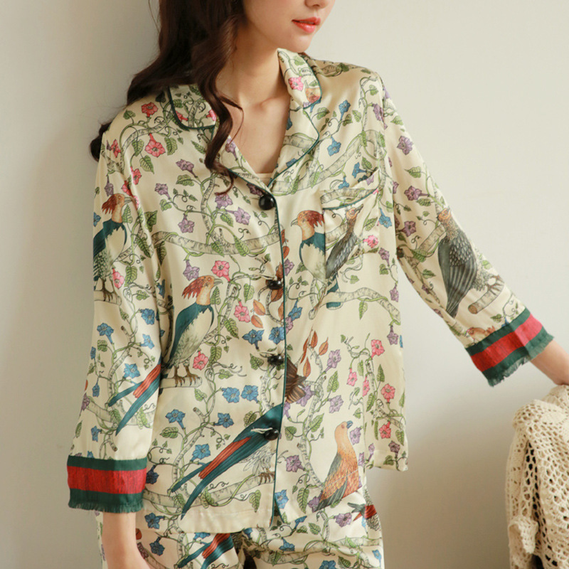 RenYvtil Brand Women Top&Trousers Set Sexy Silk Satin Pajama Set Bird Tree Flower Print Luxury Sleep Wear Autumn Long-Sleeve