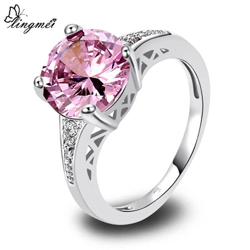 Женское свадебное кольцо lingmei, фиолетовое, розовое, красное, с фианитом, серебряного цвета, Размер 6 7 8 9 10 11 12 13