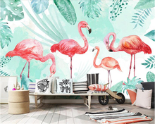 beibehang Custom Fashion Interior Wall paper Nordic Simple Fresh Flamingo Banana Leaf TV Background wallpaper for walls 3 d