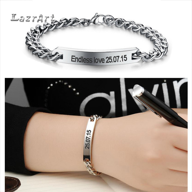 92d0876b87 custom stainless steel couple bracelet personalized name fashion brand  style bar id bridesmaid bracelet gifts for men women