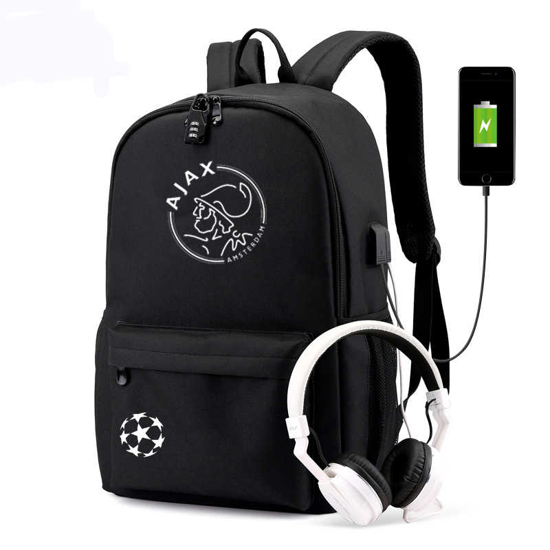 AJAX Backpack USB Anti-theft backpack Boys Girs Back To School BookBag canvas waterproof laptop bagpack Travel Feyenoord rugzak