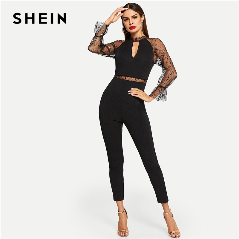 SHEIN Black Pearls Beaded Mesh Contrast Solid   Jumpsuit   Elegant Mid Waist Skinny Plain   Jumpsuit   Autumn Women Party   Jumpsuits