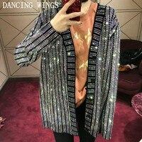 Runway Sweater 2018 Women's V neck Luxury Bling Diamonds Beaded Knitting Cardigan Women Summer Thin Jackets