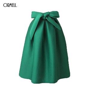 Image 1 - ORMELL Elegant Vintage Women Skirt High Waist Pleated Long Midi Skirt A Line Big Bow Red Black Green Side Zipper Skater Skirts