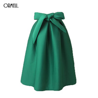 ORMELL Elegant Vintage Women Skirt High Waist Pleated Long Midi Skirt A Line Big Bow Red
