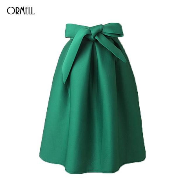 Ormell elegante das mulheres do vintage saia de cintura alta plissada longa saia de midi um line big red bow preto lado verde zipper saias skater