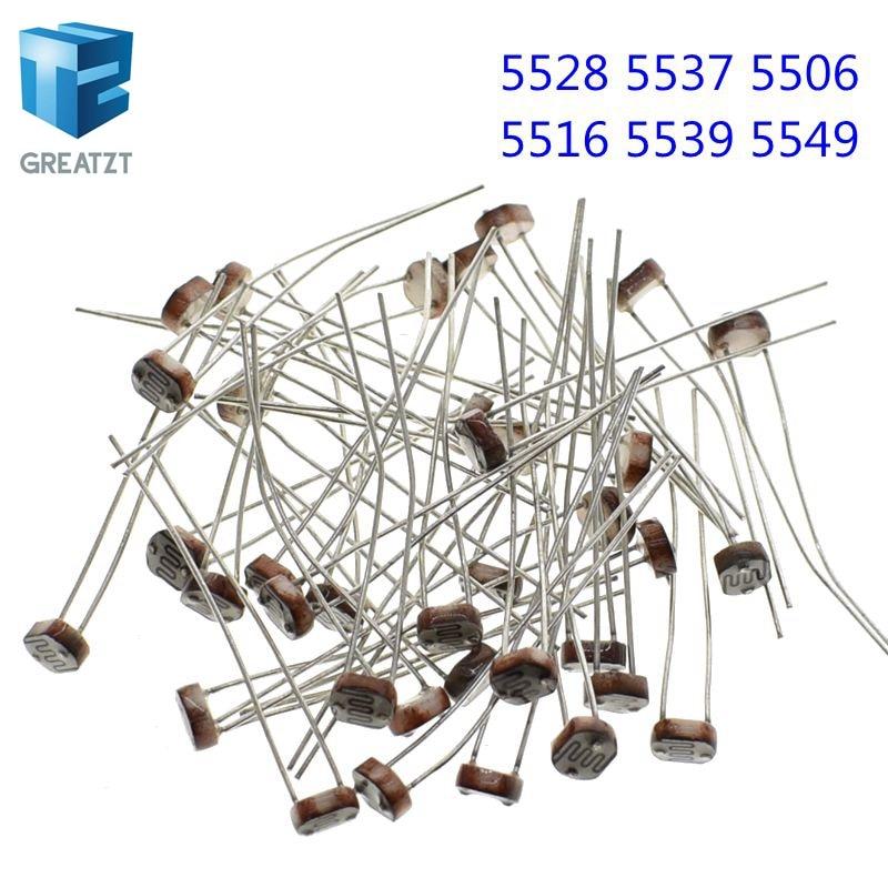 20PCS  LDR Photo Light Sensitive Resistor Photoelectric Photoresistor 5528 GL5528 5537 5506 5516 5539 5549 For Arduino