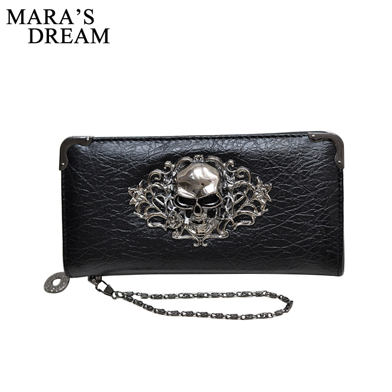 Mara's Dream Fashion Vintage Skull Ladies Long Handbag Zipper Wallet Skeleton Purse Clutch Card Holder Wallet carteira feminina