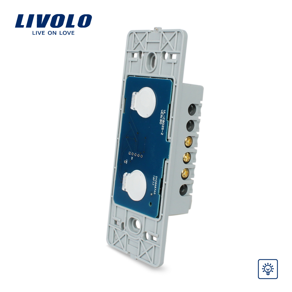 Livolo US Standard Wall Light Touch Dimmer Switch, 2gang 1way ,Without Glass Panel, VL-C502D livolo us standard base of wall light touch screen switch ac 110 250v 3gang 1way without glass panel vl c503