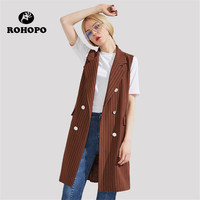 ROHOPO Brown/black v neck female Casual vest Vertical striped slim girl long sleeveless Coat Spring Women double breast Vests