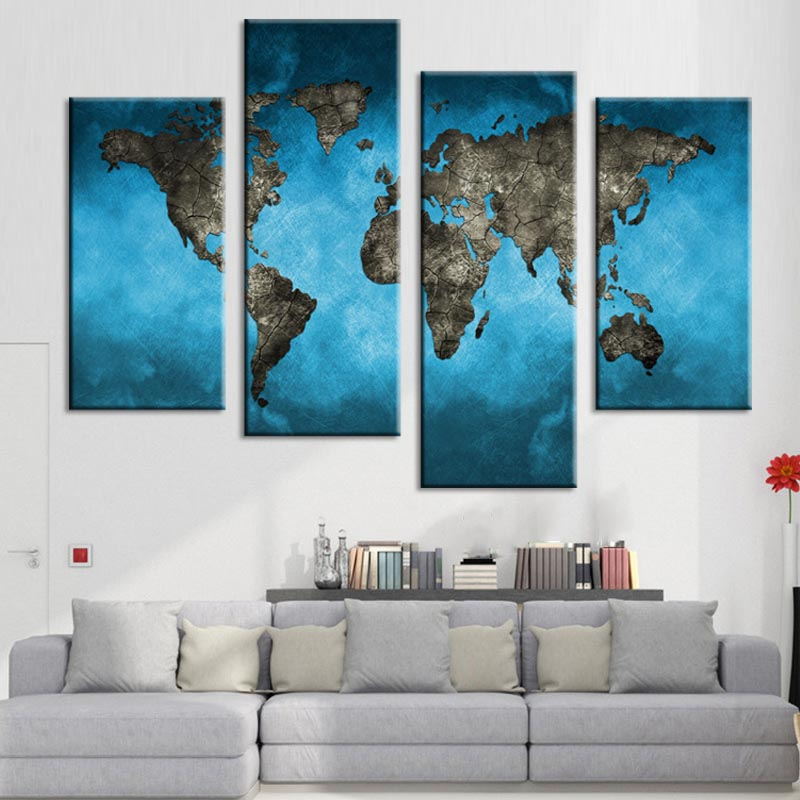 Large World Map Canvas Printings 4 Pcs Abstract Blue Map Wall Art Pictures For Living Room Decor Map Posters And Prints Unframed Painting From Picture Painting Pictures Naturepainting Dress Aliexpress